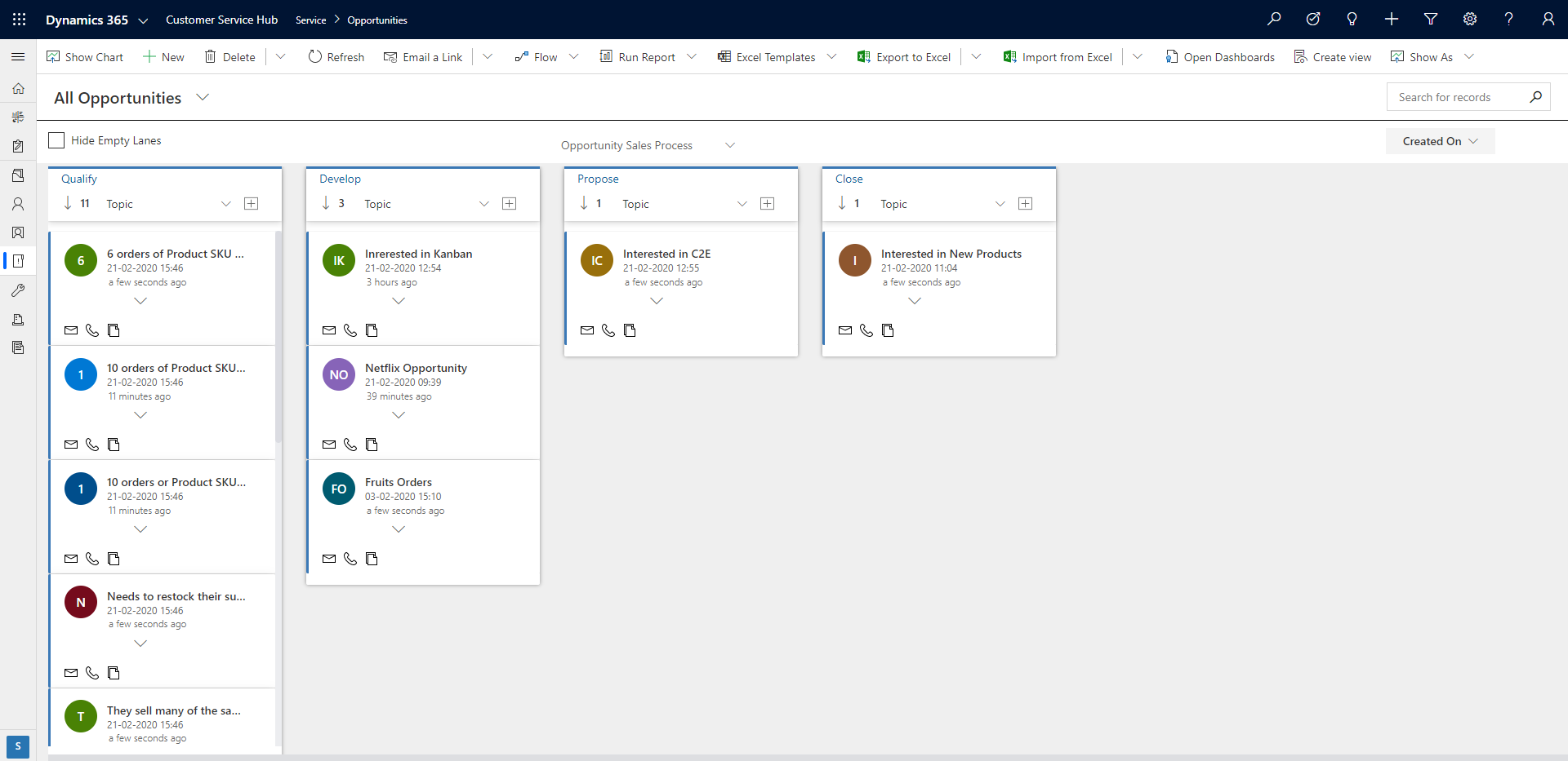 visualize Business Process Flow in the form of Kanban Board