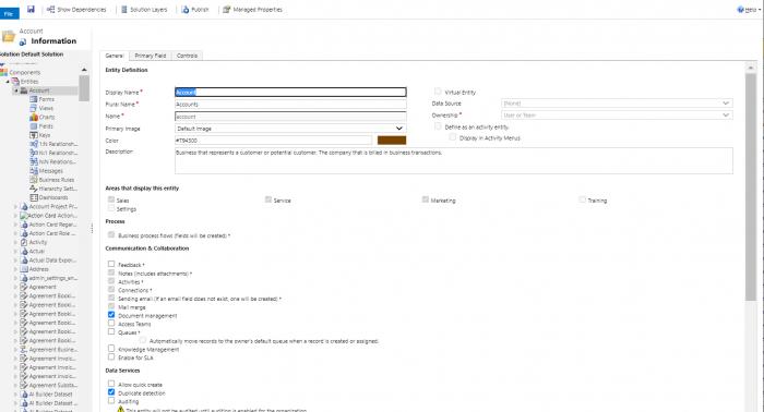 Dynamics 365 insert tab for accounts main form