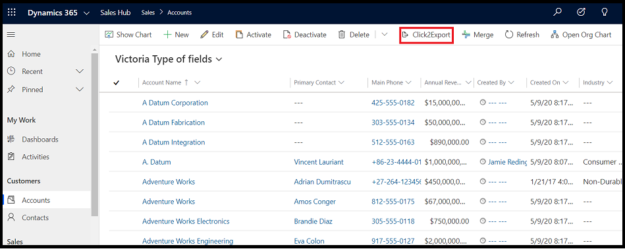 data from Dynamics 365 CRM