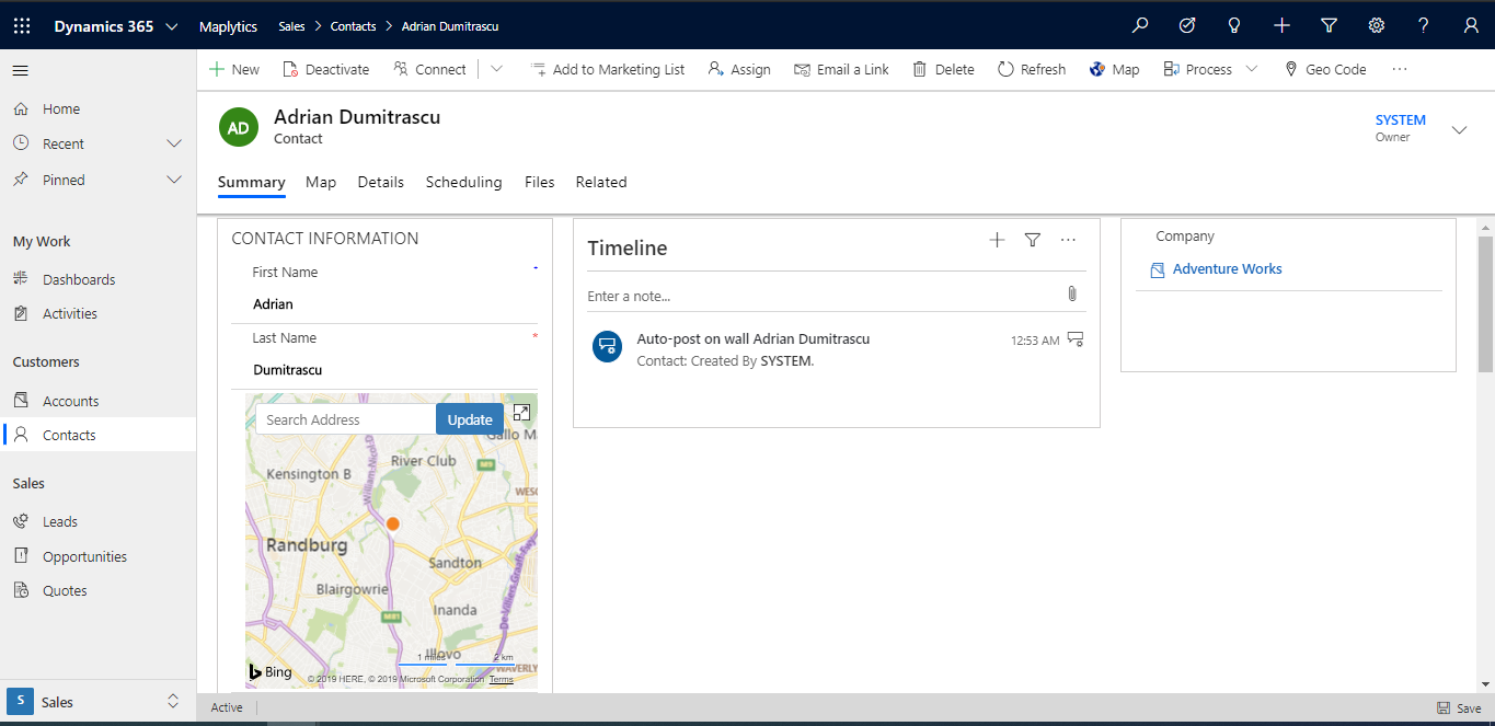 Dynamics 365 data visualization on map