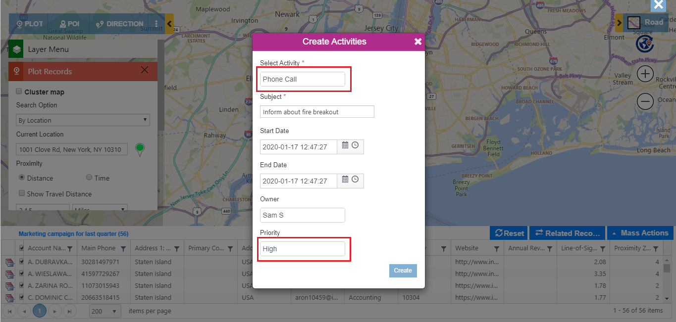 Quickly locate nearby areas around point of impact on map within Dynamics 365 CRM