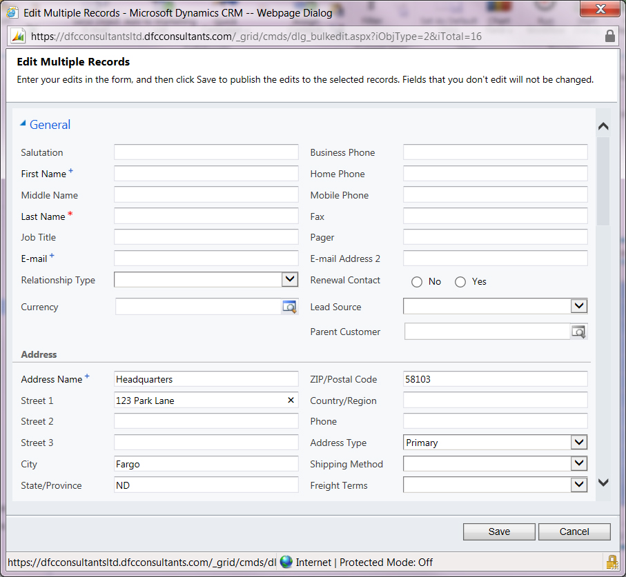 Edit address in Microsoft Dynamics CRM