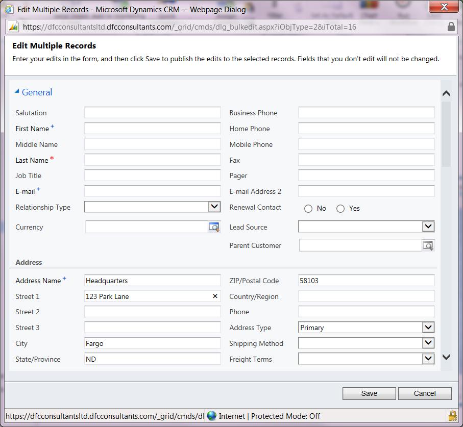 Edit address in Microsoft Dynamics CRM