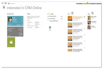 Screenshot showing what the new Dynamics CRM mobile app will look like