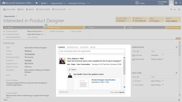 Screen shot showing Yammer integration into new Dynamics CRM 2013 user experience
