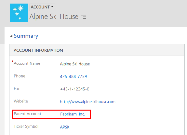 Account Record with Parent Account 625x451 Dynamics 365 Record Hierarchy
