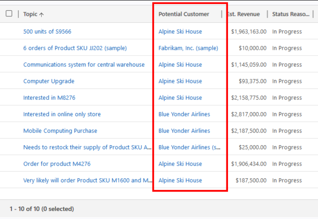 Advanced Find Opportunities Under Account Results 625x431 Dynamics 365 Record Hierarchy