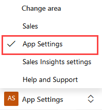 App Settings in toggle menu
