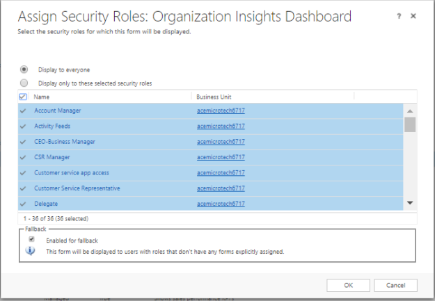 Assign Security Roles to the Dashboard