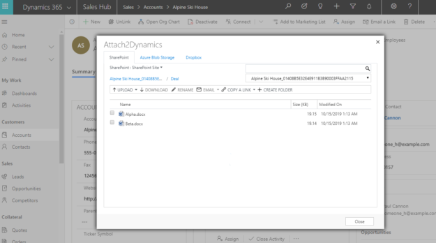 Attach2Dynamics is preferred document management app within Dynamics 365 CRM for SharePoint, Dropbox and Azure Blob