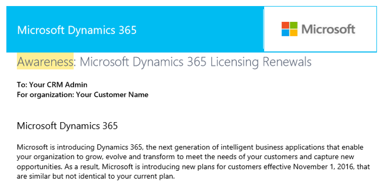 Awareness What do I do about Microsoft Dynamics 365?