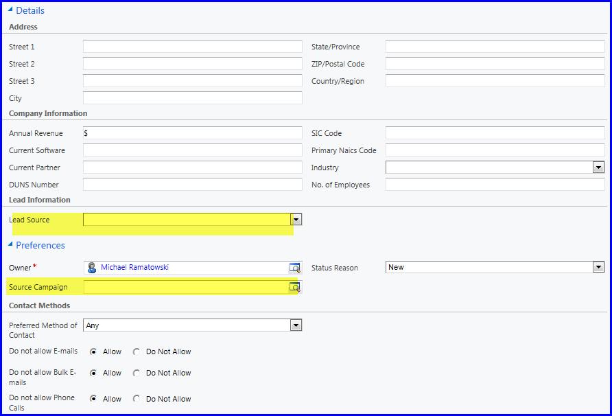 Microsoft Dynamics CRM Lead Details