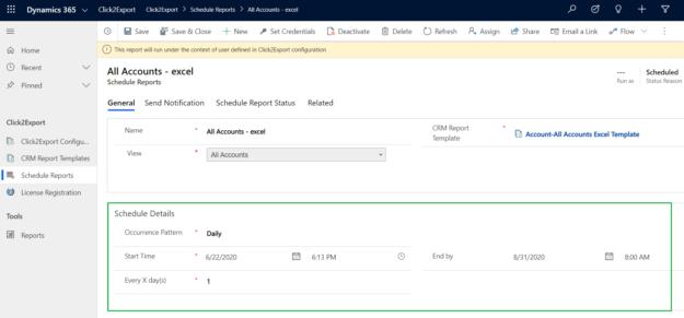 Click2Export to Export Dynamics 365 CRM reports
