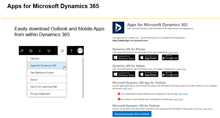 Compare Dynamics 365 for Outlook versus Dynamics 365 App for