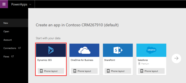Create PowerApp - Choose Dynamics 365