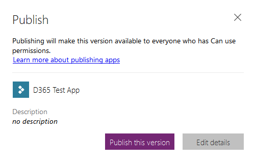 Create PowerApp - Publish this version