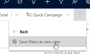 Create saved view from filter button