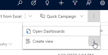 Create saved view from filter navigation