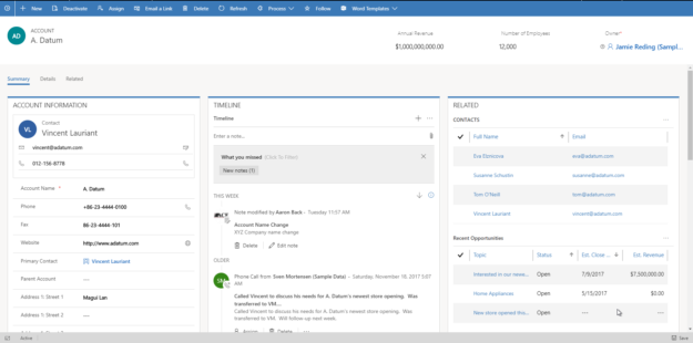 Customer Service Hub Account Record 625x310 Understanding Dynamics 365 Hubs