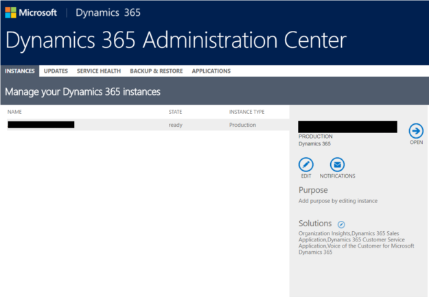 Dynamics 365 Administration Center