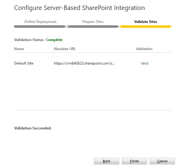 Configure SharePoint Integration - Validate Sites