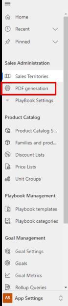 Dynamics 365 Sales App - Settings - PDF Generation option