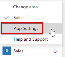 Dynamics 365 Sales App - toggle button - Choose settings