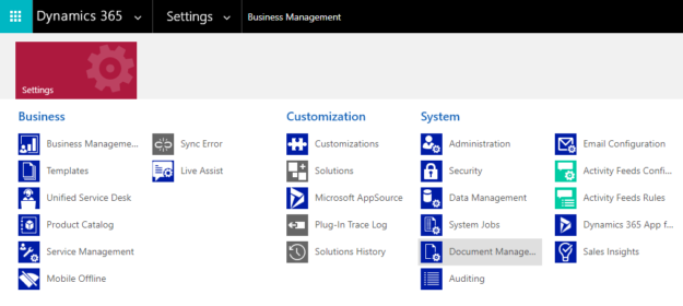 Dynamics 365 Settings