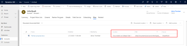 Dynamics 365 - link to SharePoint file