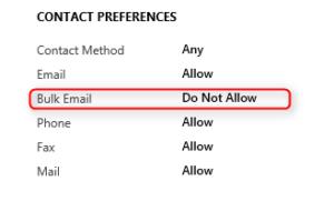 Do not allow bulk email