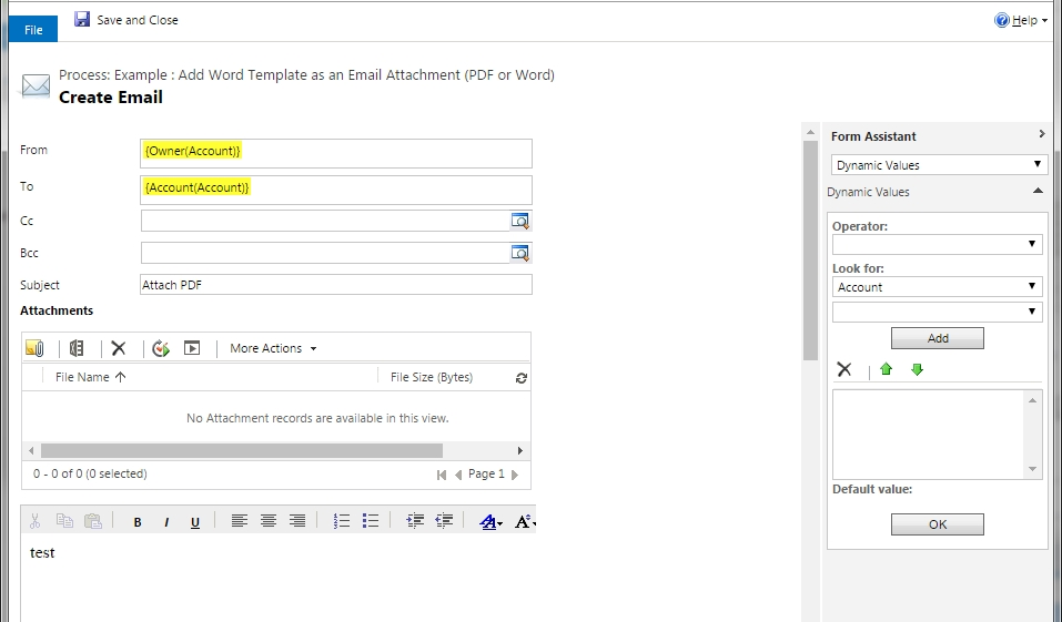 "CRM 2016 ""Word Templates"" > Email as PDF Attachment with Workflow ..."