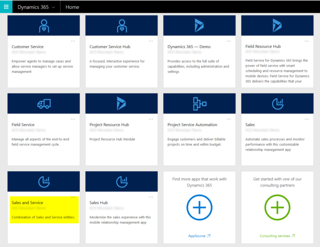 Dynamics 365 Home Page with New Custom App