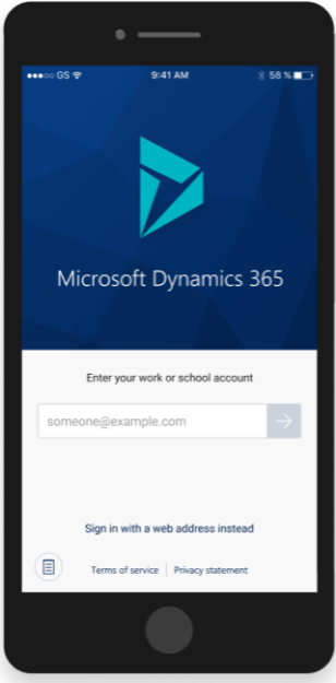 Dynamics 365 Mobile Experience - sign-in