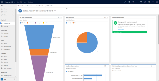 Dynamics 365 Unified Interface home page