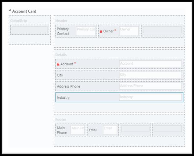 Dynamics 365 card form fields