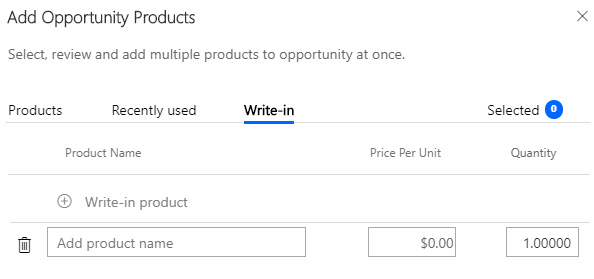 Enhanced Add Products Experience - Add products panel - Write-in Products tab
