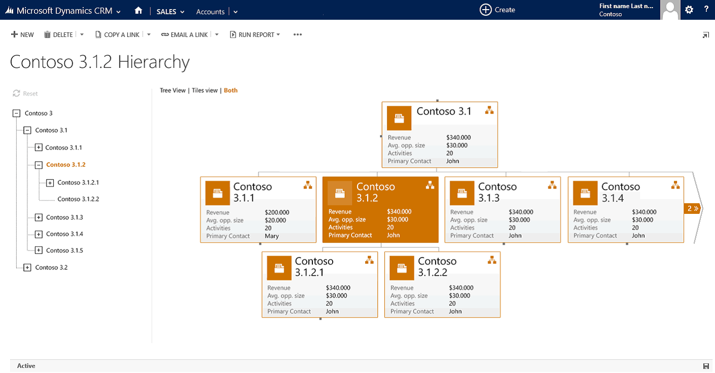 Example of Account Hierarchy in CRM 2015