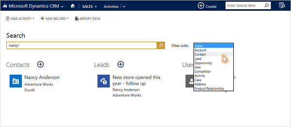 Filter Search Results in Dynamics CRM