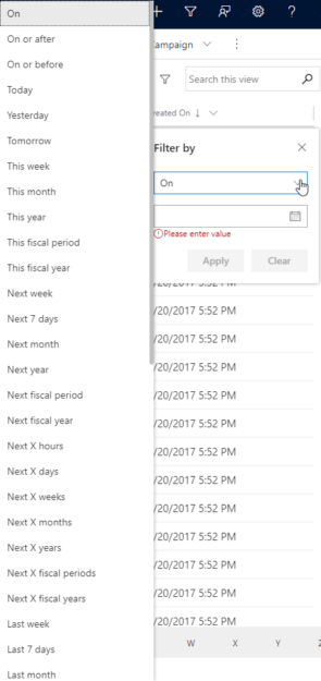 Filter options for dates