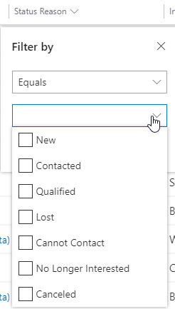Filter options for drop-down lists
