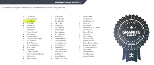 Granite Award list