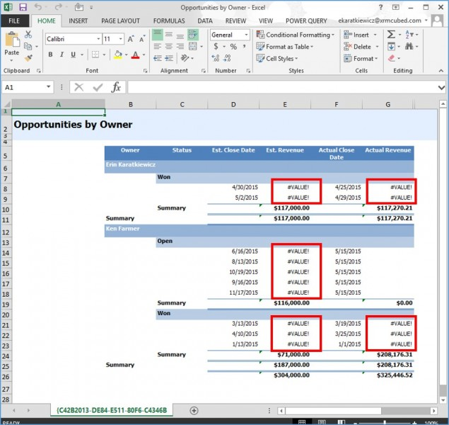 Microsoft Dynamics CRM Quick Fix for #VALUE! Errors in Exports to Excel 3