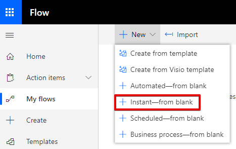 Microsoft Flow create new Instant Flow