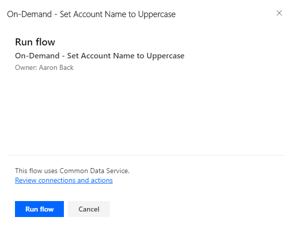 Microsoft Flow menu button - Run Flow