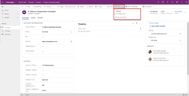 Microsoft Flow menu button on a record form in PowerApps