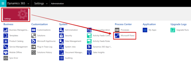 Microsoft Flow option in the Dynamics 365 Settings