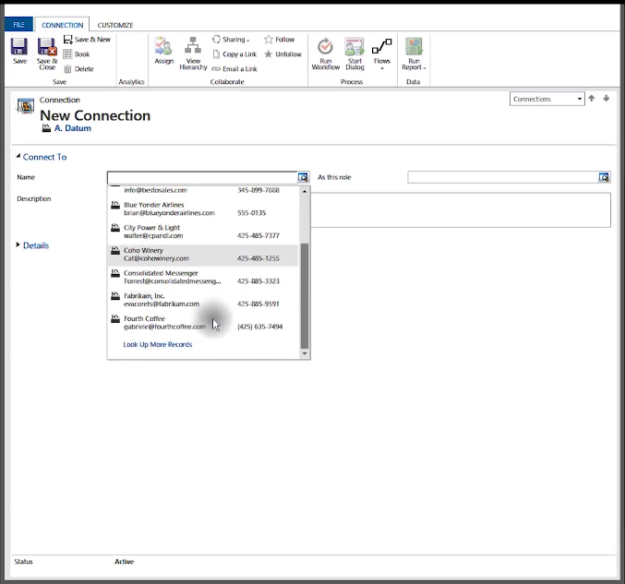 New Connection Window Microsoft Dynamics 365 for Sales CRM 625x584 How to Use Connections in Microsoft Dynamics 365 for Sales