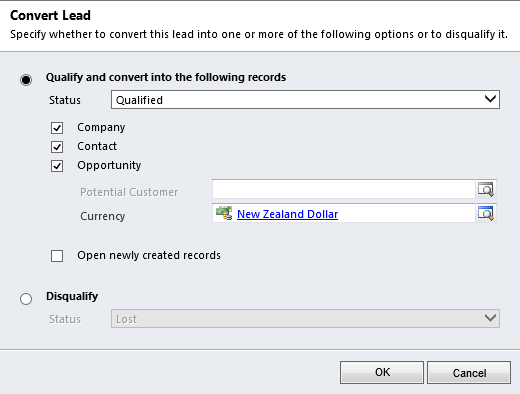 Old Qualify Lead dialog window Highlights of Upcoming Dynamics 365 October 2019 Updates