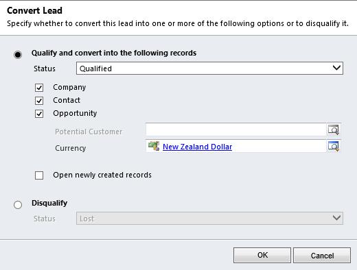 Dynamics CRM old-school Qualify Lead dialog window