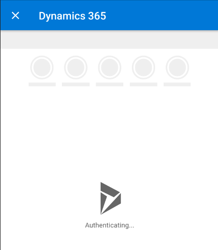 Outlook mobile app - tap Dynamics 365 button - Authenticating